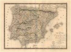 Brue: Antique Map of Spain & Portugal, 1821