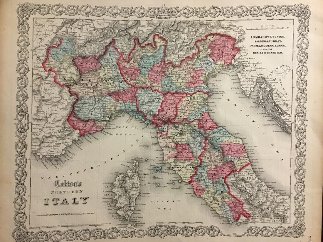Colton: Antique Map of Northern Italy, 1859