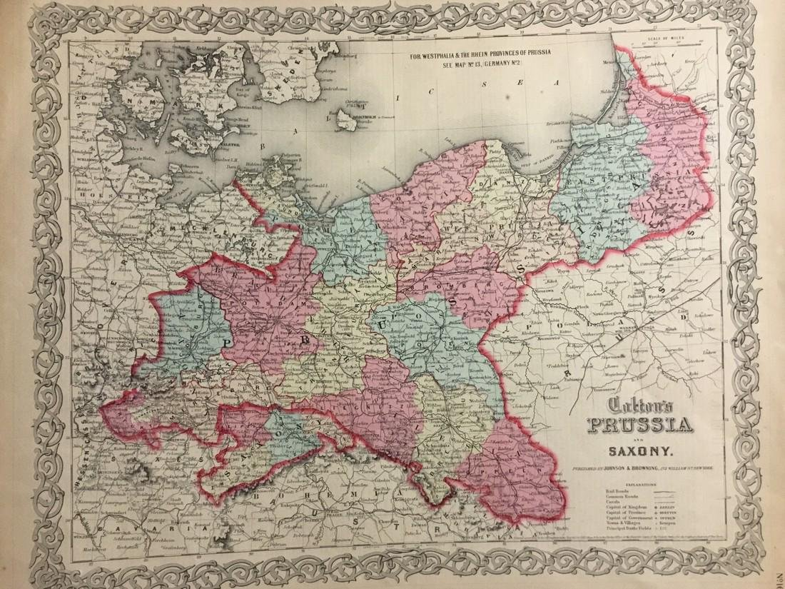 Colton: Antique Map of Prussia, 1859
