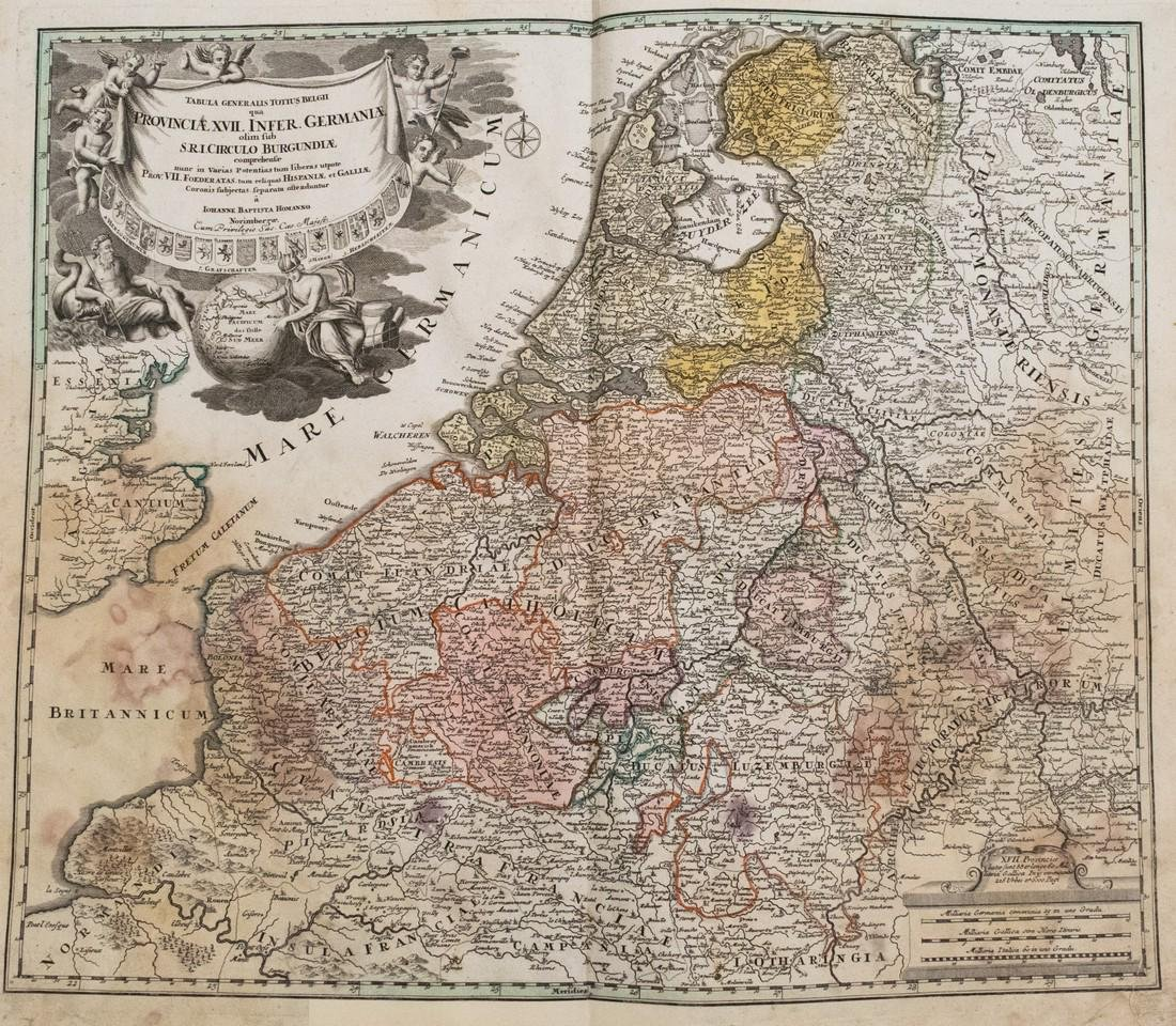 Homann: Antique Map of the Low Countries, 1753