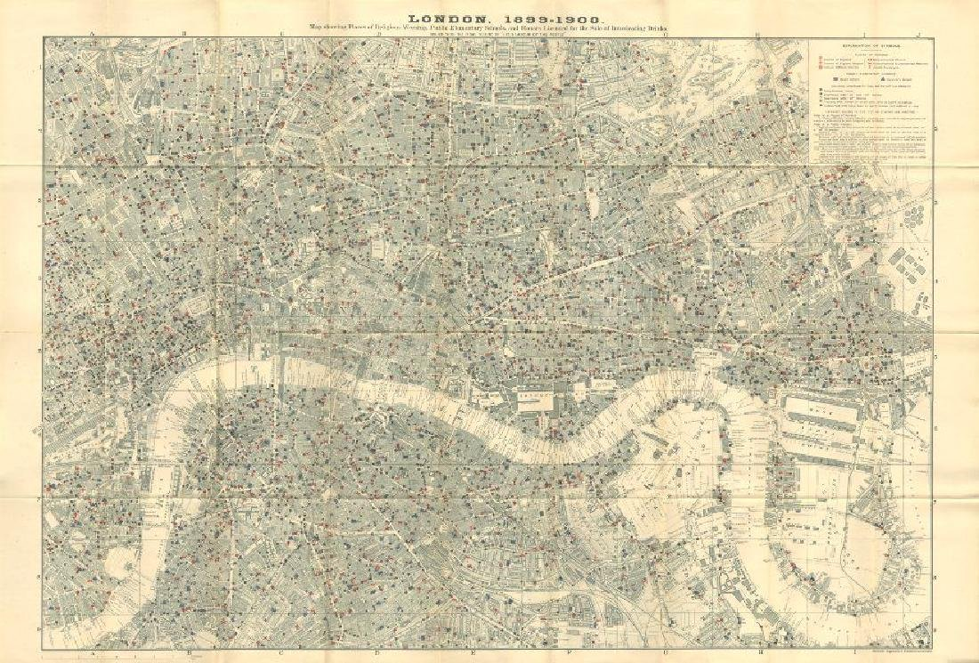 Charles Booth: Antique Map of London, 1902