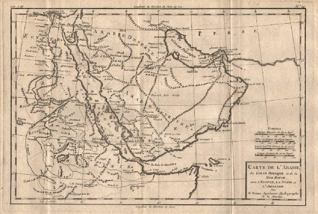 Bonne: Antique Map of Arabia, 1780