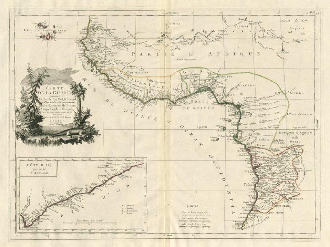 Santini/Bonne: Antique Map of West Africa, 1784