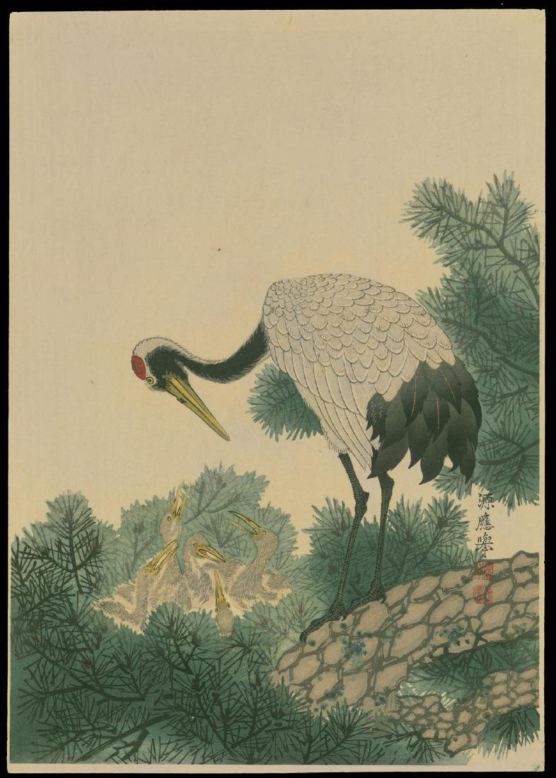 20th Century Japanese School Woodblock Crane Feeding