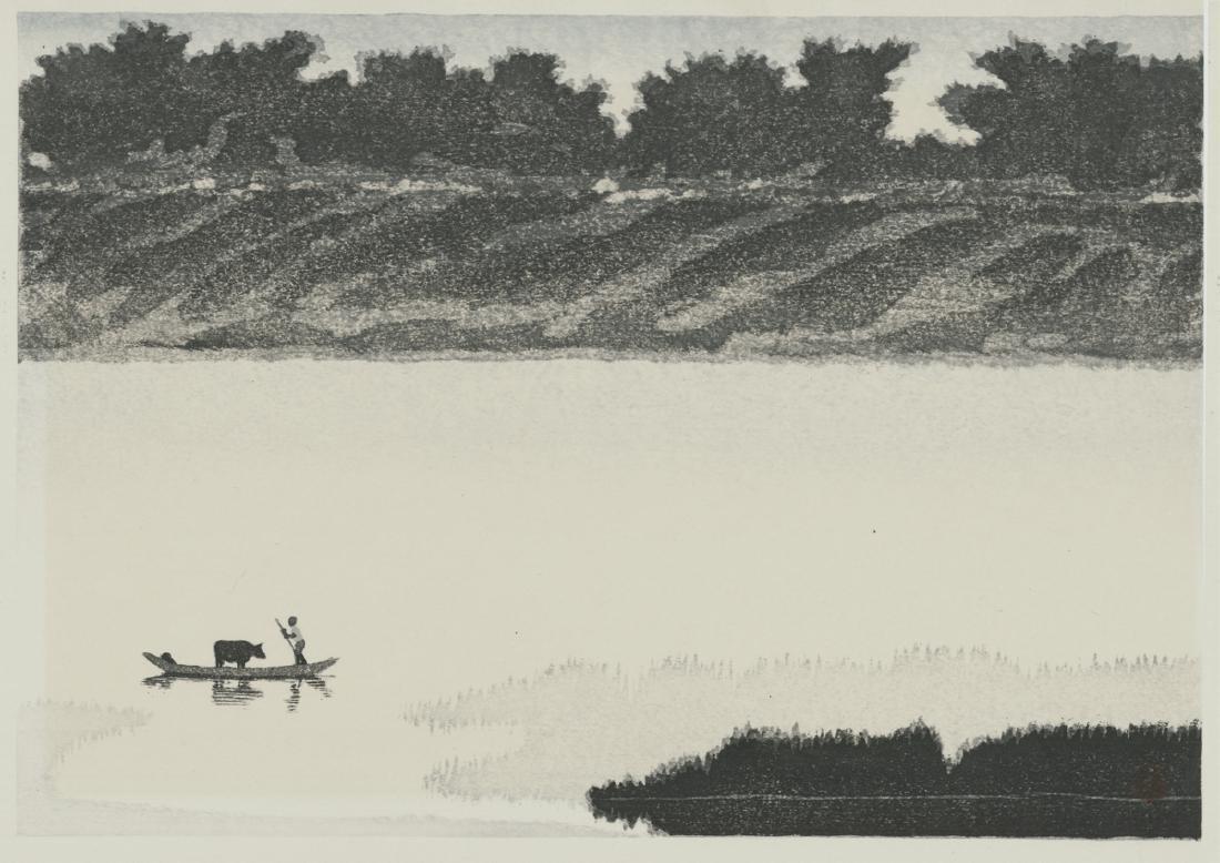 20th Century Japanese School Woodblock Crossing Lake