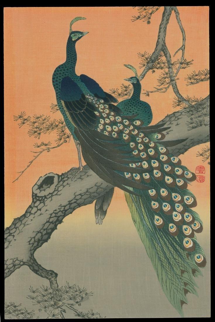 20th Century Japanese School Woodblock Peacocks