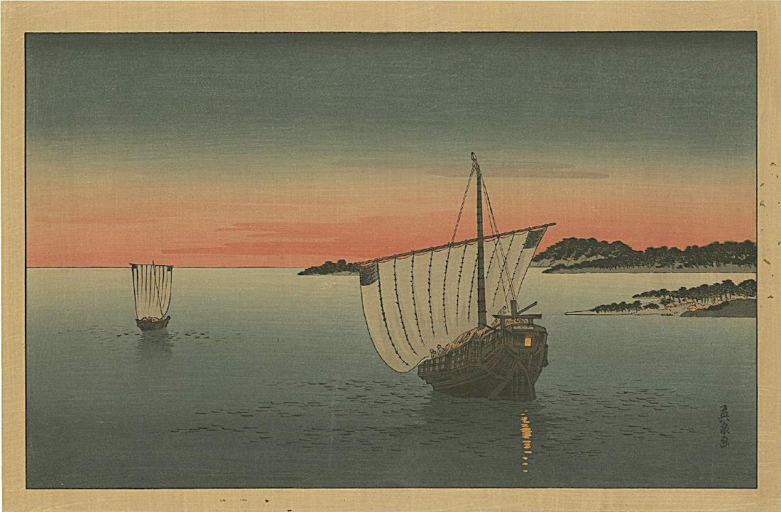 Eisen Keisai Woodblock Sailboats at Sunset