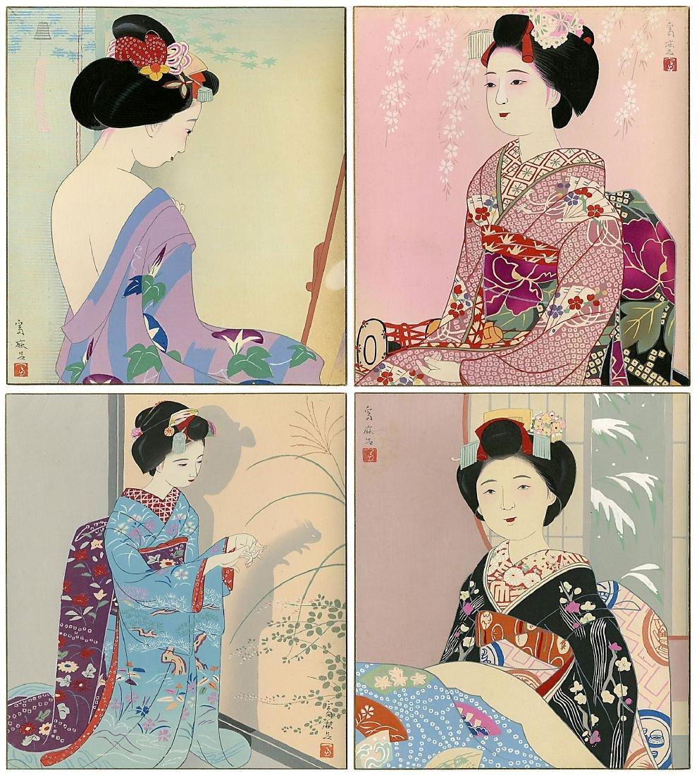 Higuchi Tomimaro Woodblock Spring, Summer, Fall, Winter