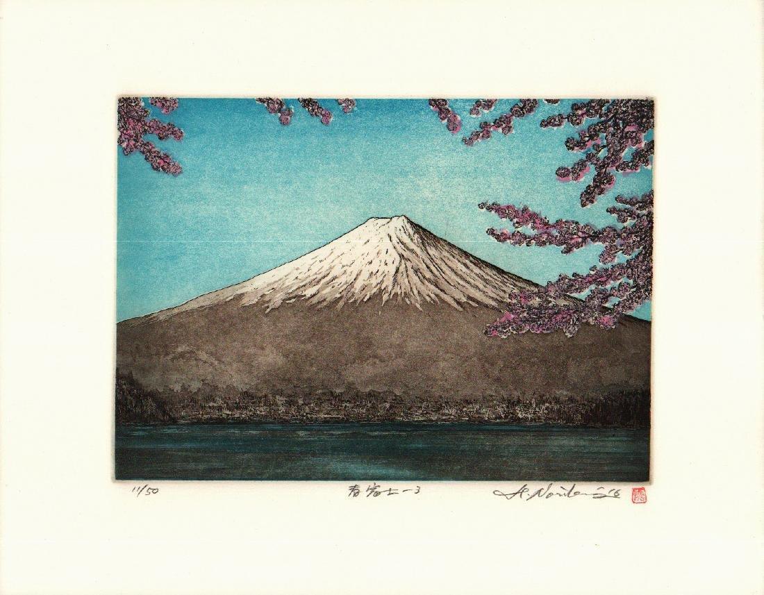 Hiroto Norikane Etching and Aquatint Mt Fuji in Spring