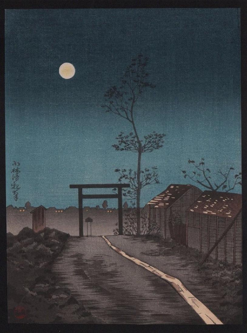 Kobayashi Kiyochika Woodblock Torii Gate, Full Moon