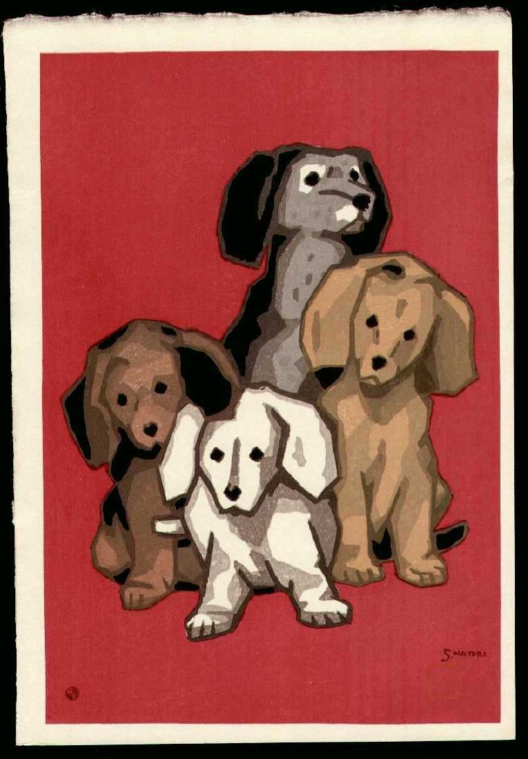 Natori Shunsen Woodblock Four Little Puppies