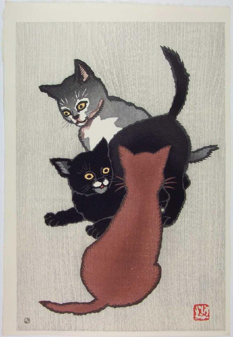 Natori Shunsen Woodblock Three Little Kittens
