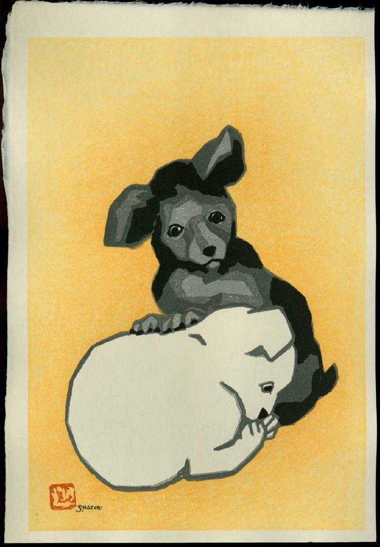 Natori Shunsen Woodblock Two Little Puppies