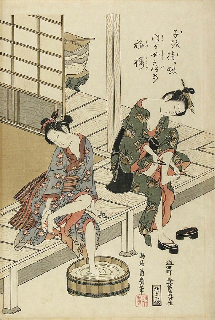Torii Kiyohiro Woodblock Two Girls on a Verandah