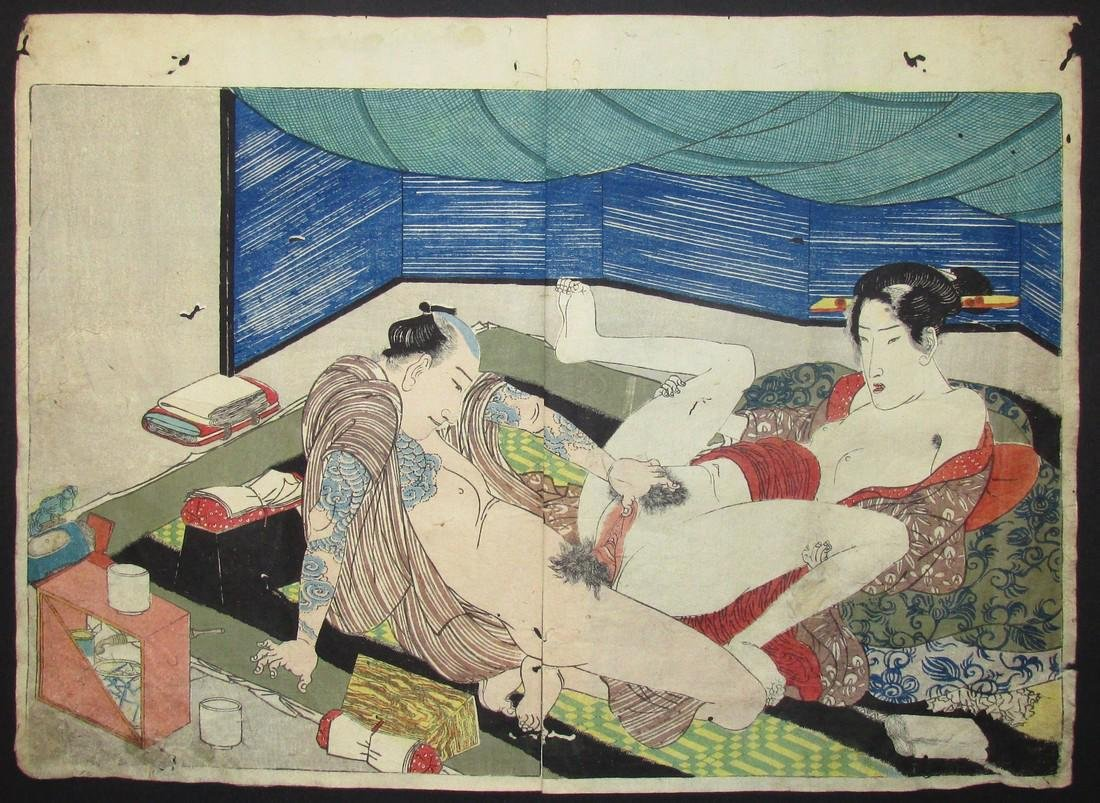 Utagawa Kunisada Woodblock Shunga Tattooed Man