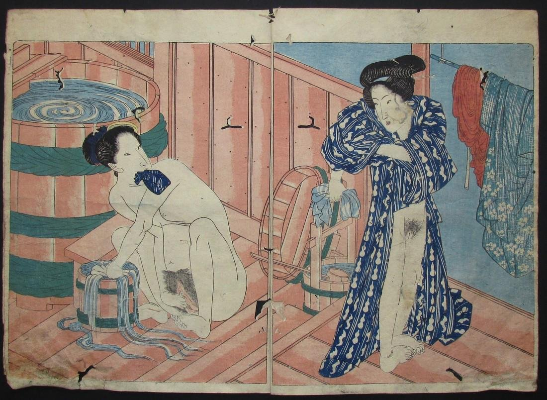Utagawa Kunisada Woodblock Shunga Women Washing