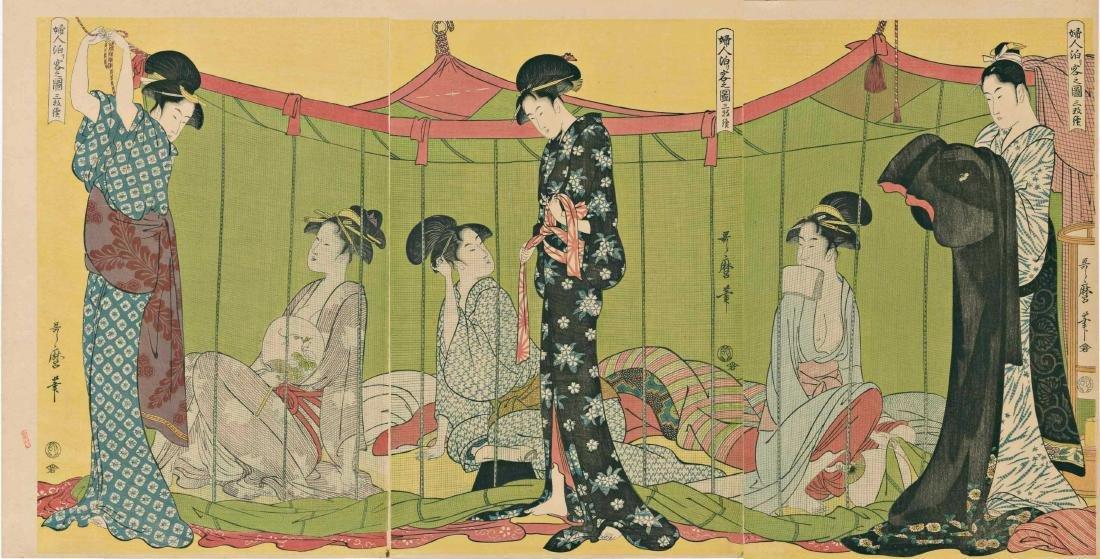 Utamaro Kitagawa Woodblock Overnight Guests Triptych