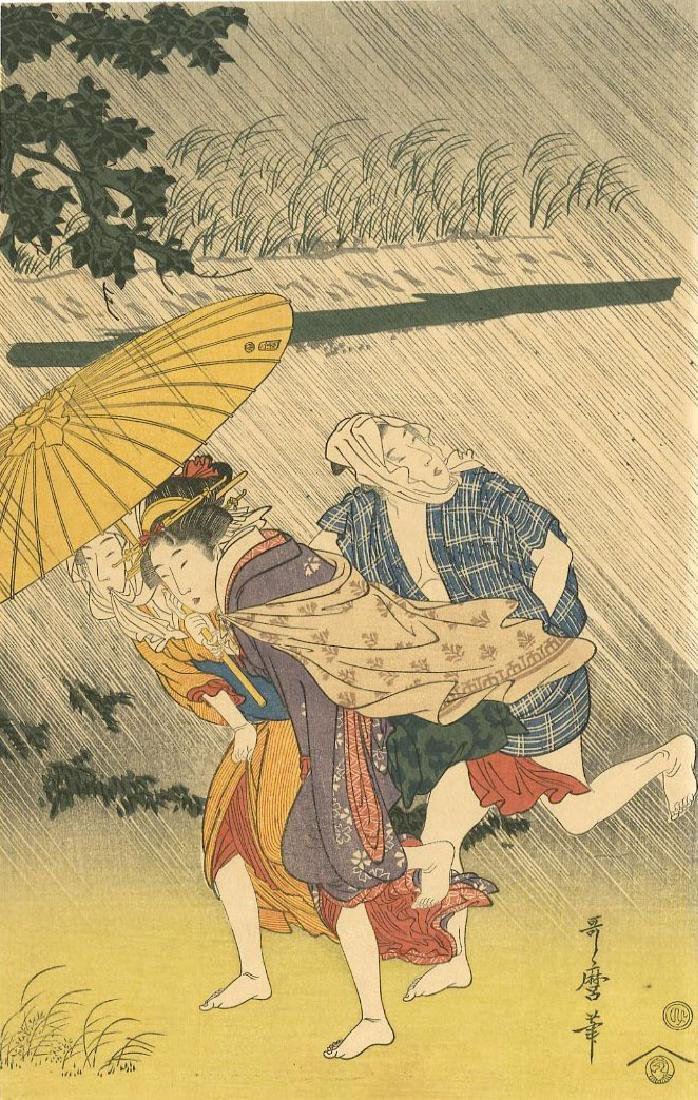 Utamaro Kitagawa Woodblock Sudden Shower