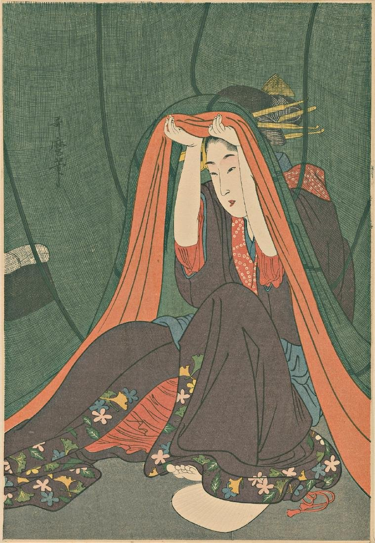 Utamaro Kitagawa Woodblock Woman Under a Mosquito Net