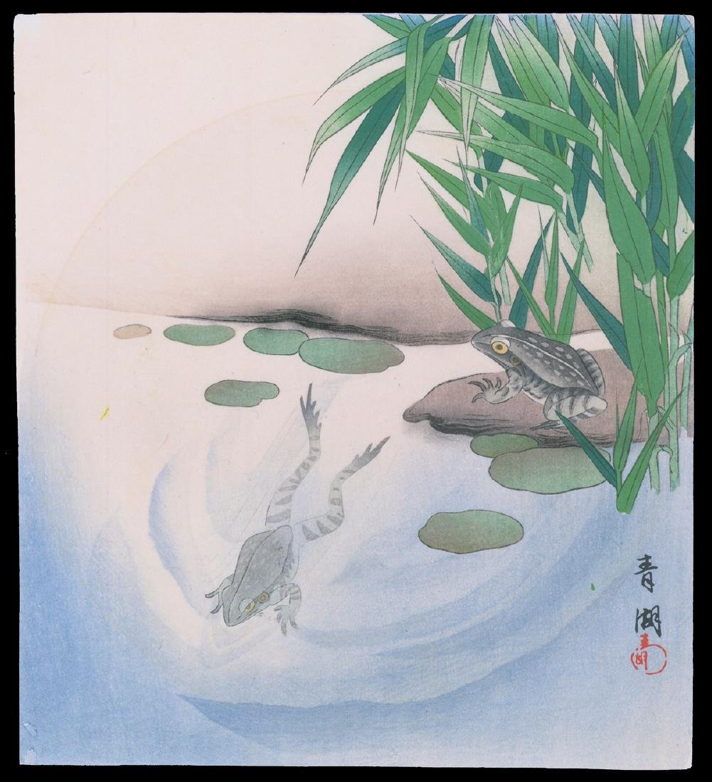 Watanabe Seitei Woodblock Frogs in a Pond