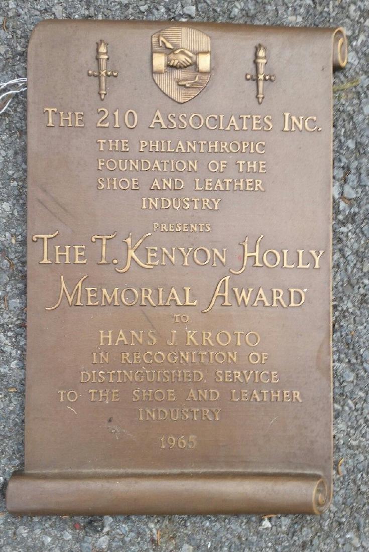 Bronze Plaque Award Leather Shoe Industry 1963