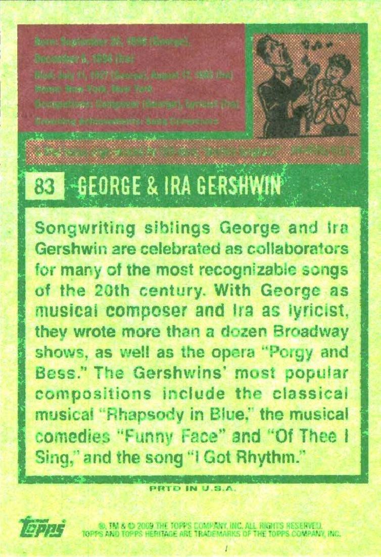 2009 Topps Heritage George & Ira Gershwin Composer & - 2