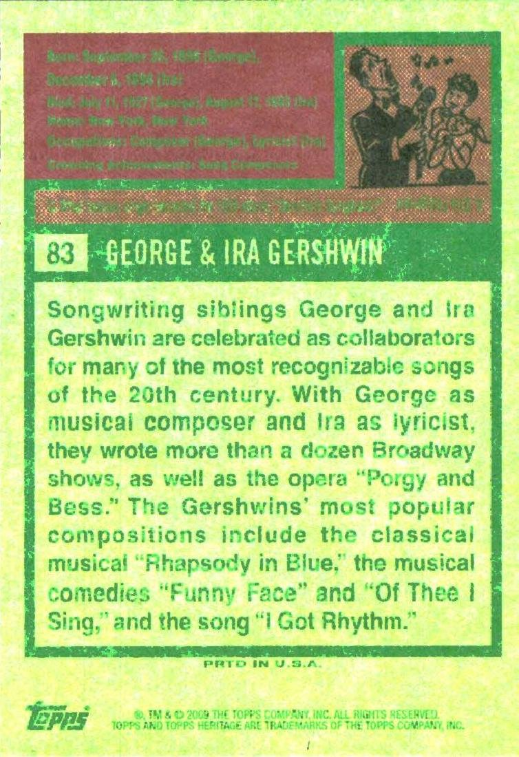 2009 Topps Heritage George & Ira Gershwin Composer & - 2