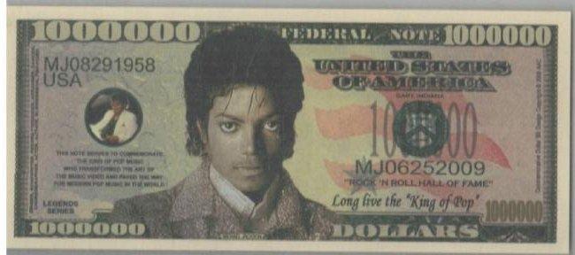 Michael Jackson One Million Dollar Collectible Novelty
