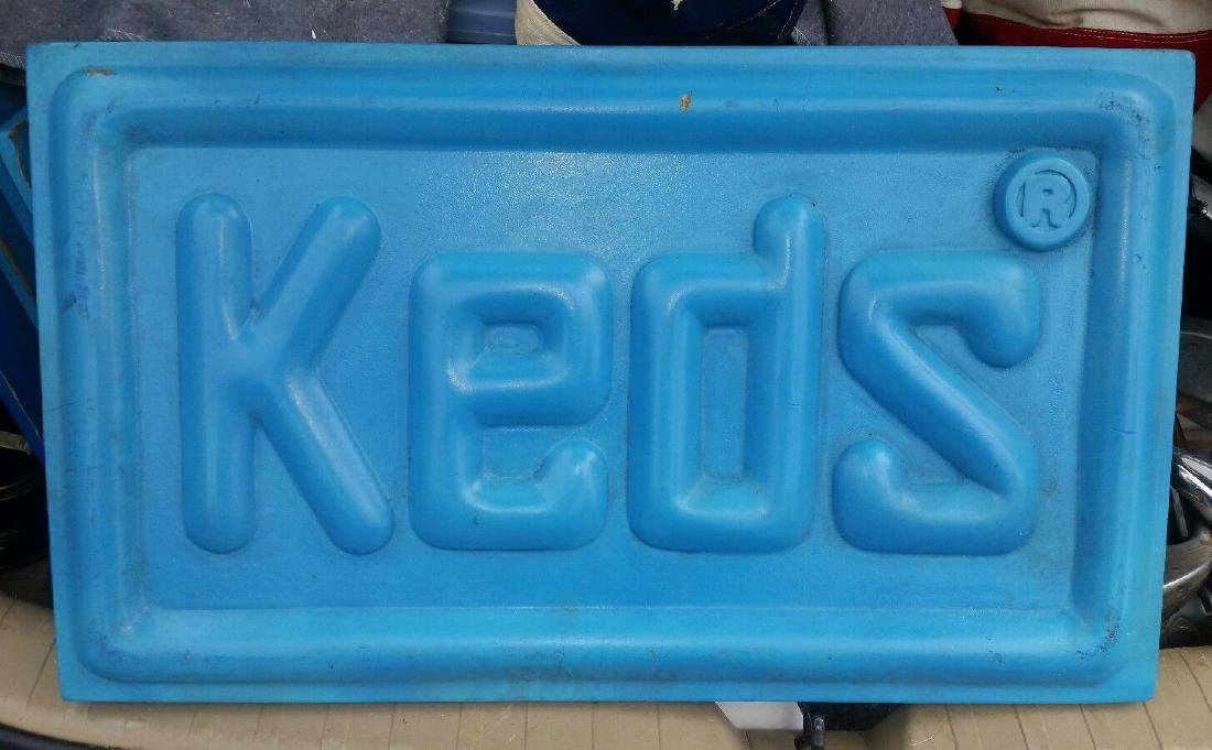 Vintage Keds Sneakers Advertising Sign Blue 1970's