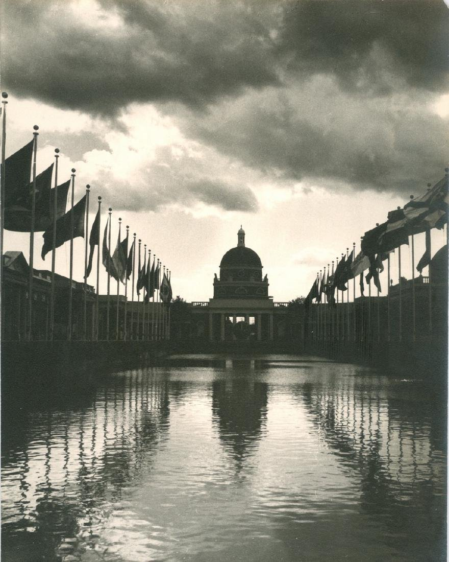 Waterway With Flags 1939 Photograph