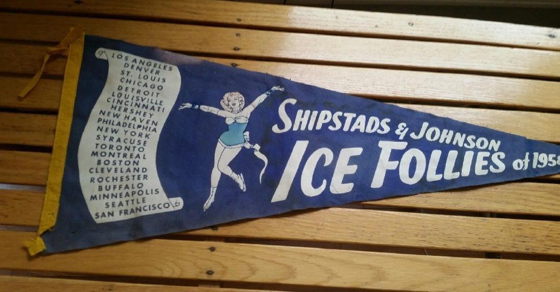 Vintage Ice Follies Pennant 1958 Ice Skating