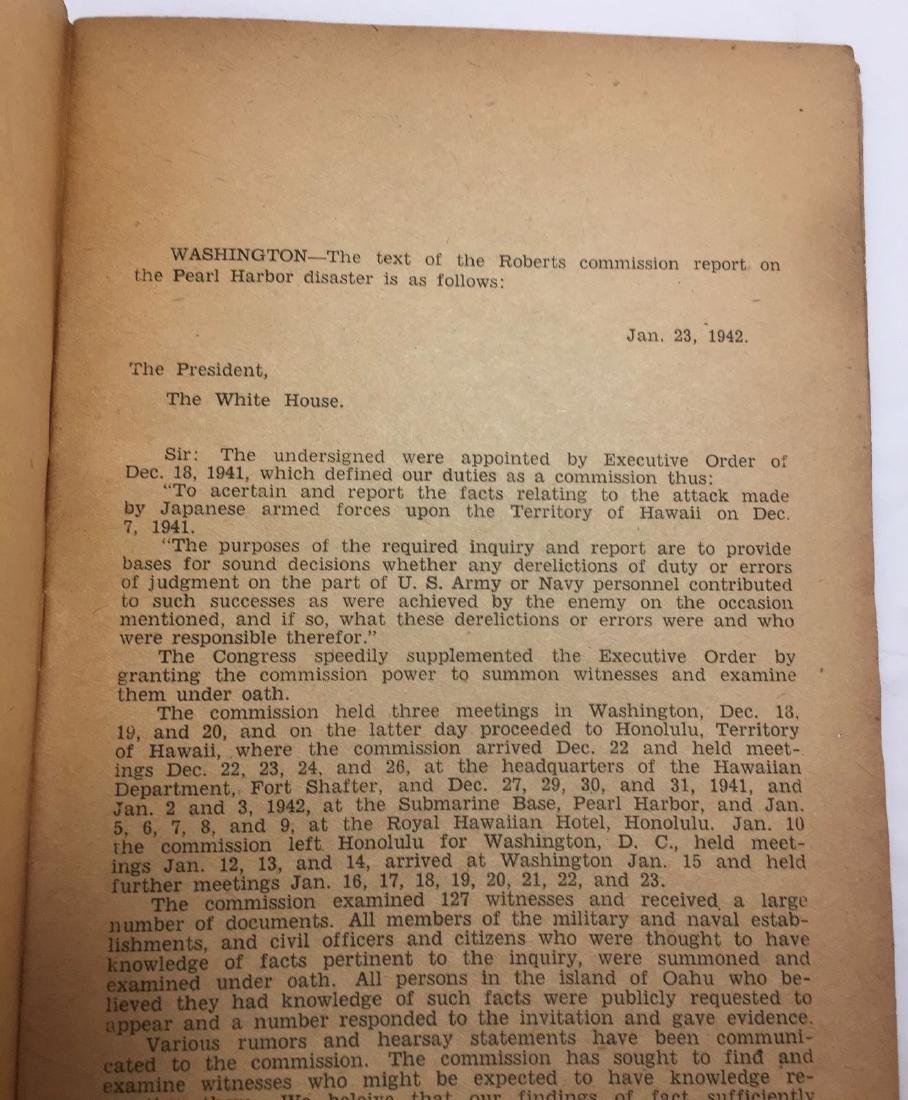 Vintage c1940s Roosevelt's WWII Pearl Harbor Commission - 3