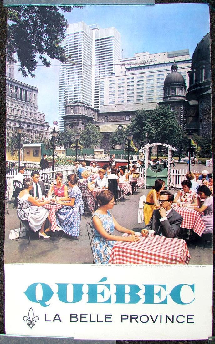 Vintage 1950s-60s Canada Travel Poster Quebec La Belle