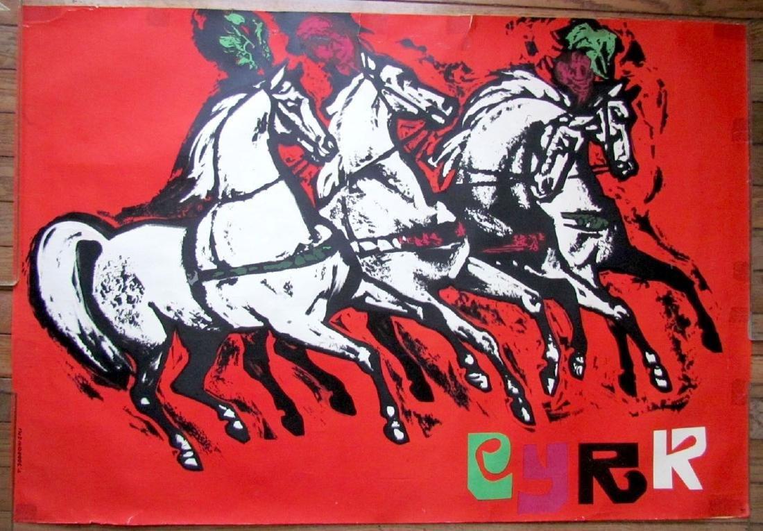 Vintage Polish Circus Poster W/ Horses
