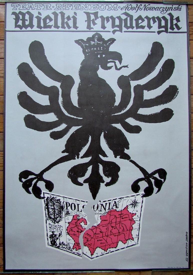 Vintage 1977 Polish Theater Poster by Hubert Hilscher