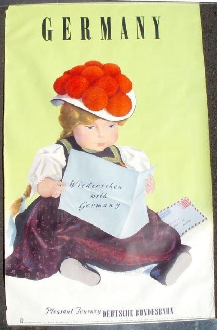 Gorgeous 1950s German Travel Poster W/ Doll Germany