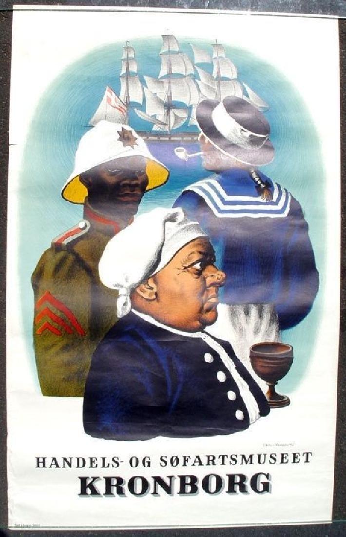 1948 Rare Danish Kronberg Travel Poster