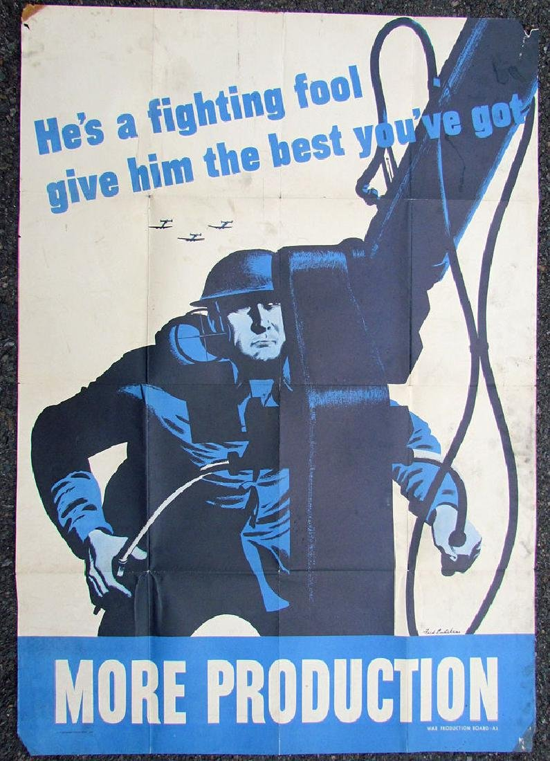 Original WWII Us Poster He's a Fighting Fool. Give Him