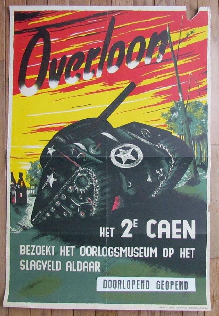 Vintage Dutch Military Poster W/ Tank - WWII Battle Of