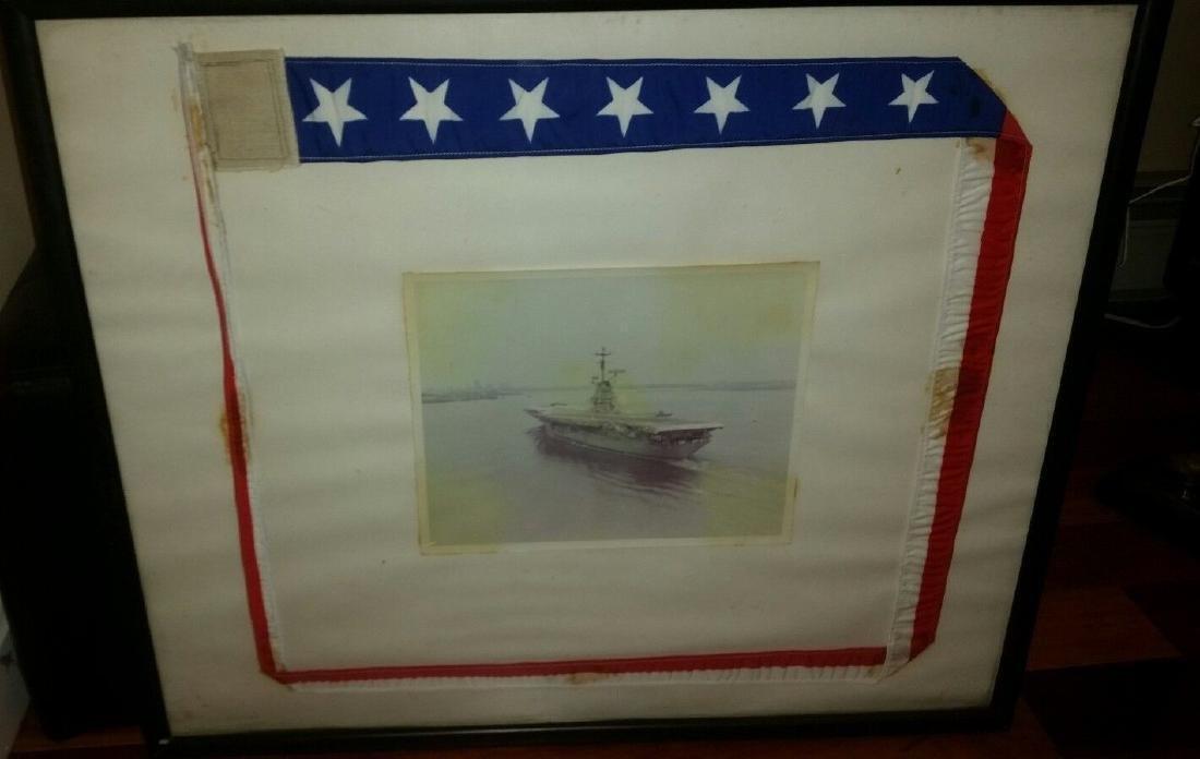 WWII Aircraft Carrier Ship Photograph Pennant Veteran