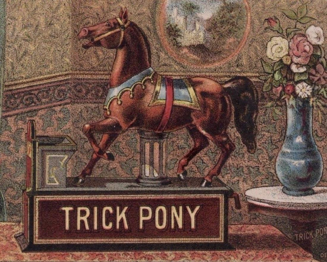 Antique 1885 Pony Mechanical Bank Currier & Ives Print