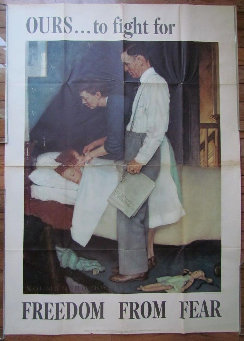 1943 Vintage Us WWII Norman Rockwell Large Poster
