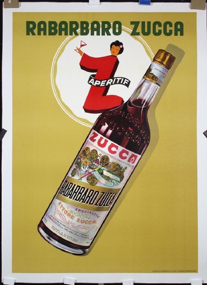 Vintage Large Original 1950s Swiss Wine Advertising