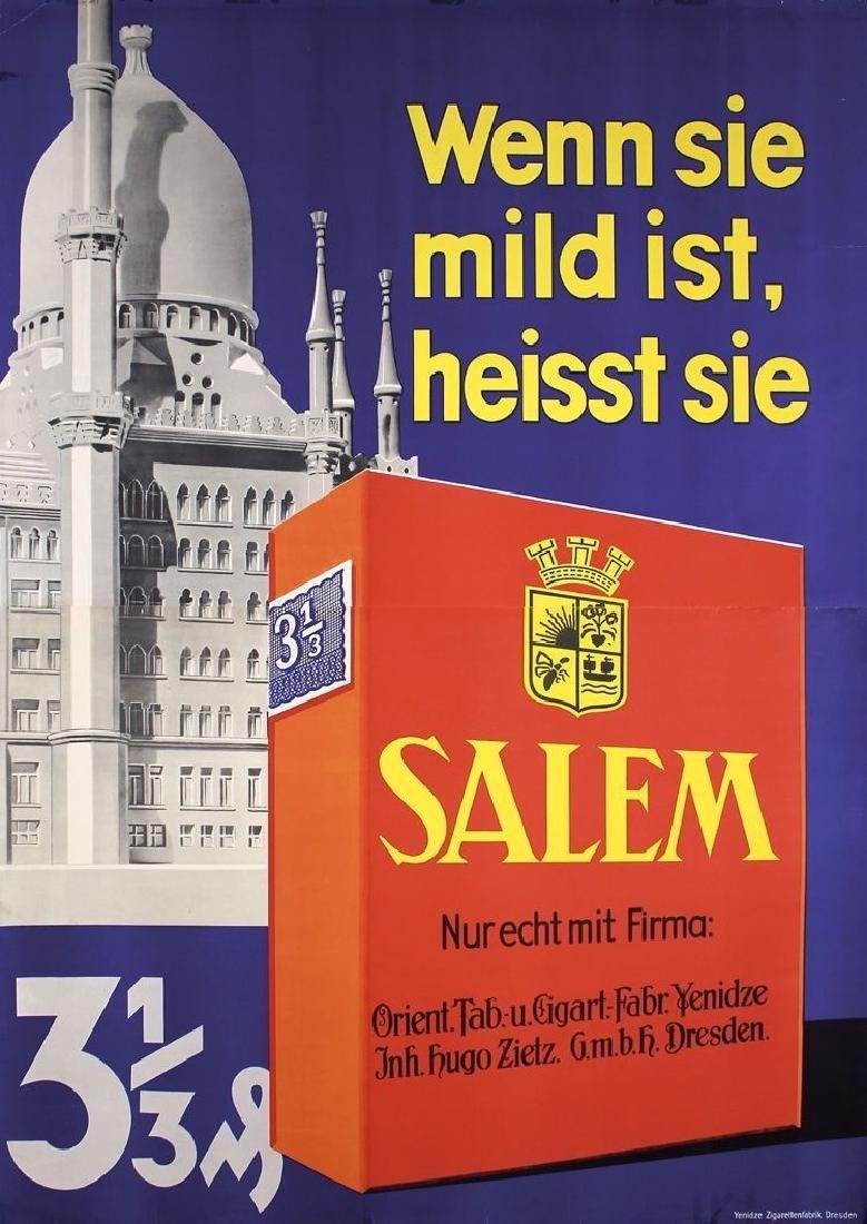 Vintage Large Original 1935 German Salem Cigarettes