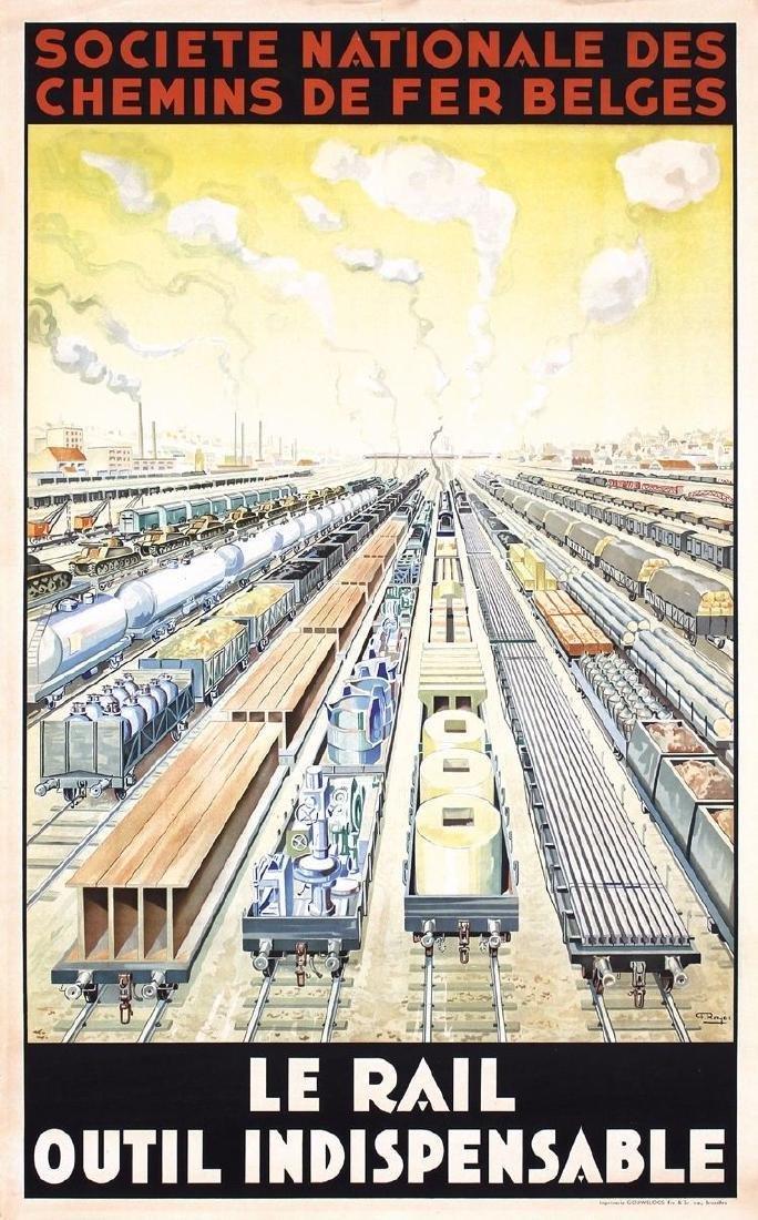 Vintage Original 1930s Belgian Railroad Travel Poster