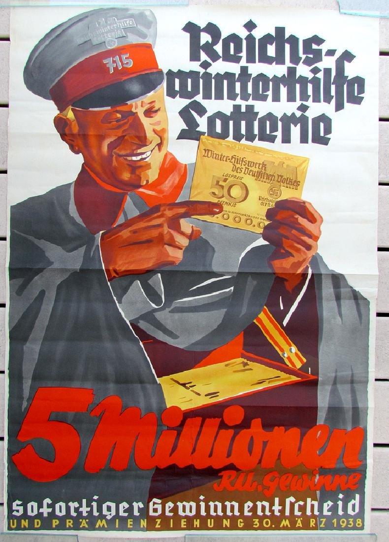 Rare Vintage 1938 German Nazi Era Lottery Poster