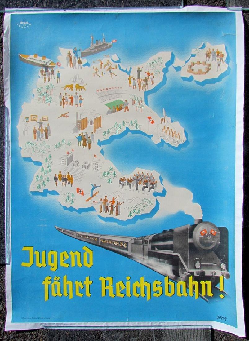 German WWII Era Nazis Poster - Train Advertisement