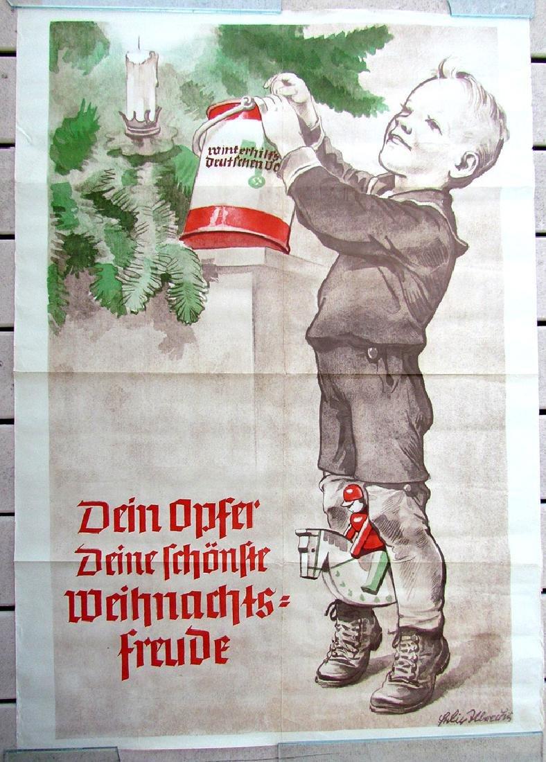 Rare Vintage 1933 German Nazi Era Charity Poster W/ Boy