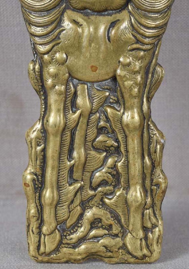 Antique Japanese Bronze Letter Opener Kirin & Phoenix - 6