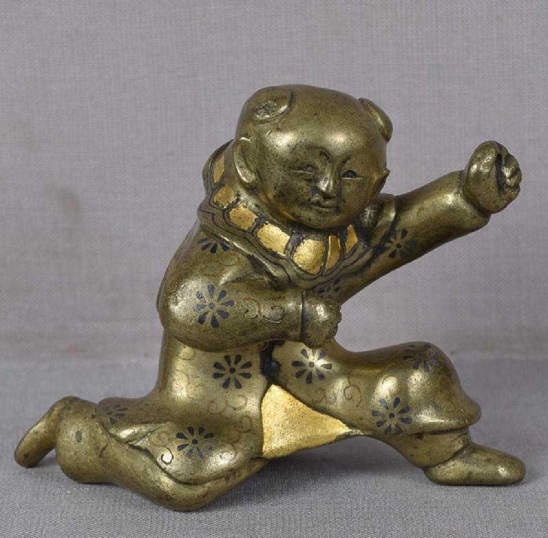 Antique Japanese Mixed Metal Scroll Weight Chinese Boy